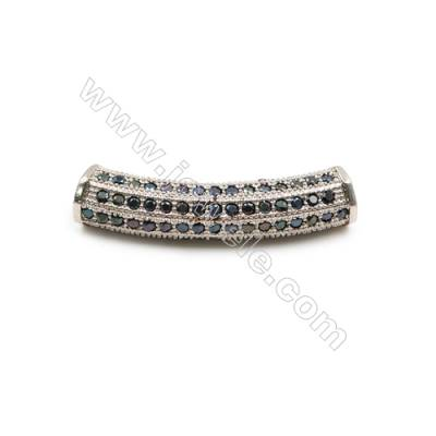 Brass Beads, CZ Micropave, White Gold, Size7x30mm, Hole 3mm, 6pcs/pack