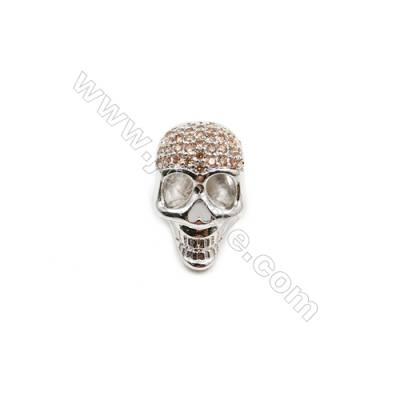 Brass Plated Platinum Grand Hole Charms  CZ Micropave Skull  Size 11x18mm  Thick 12mm  15pcs/pack