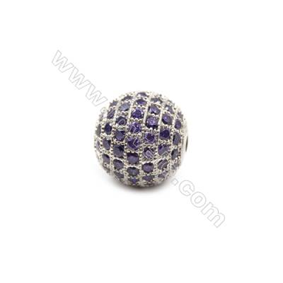 Brass Plated Platinum Beads, CZ Micropave, Round, Size 14mm, Thick 13mm, 3pcs/pack