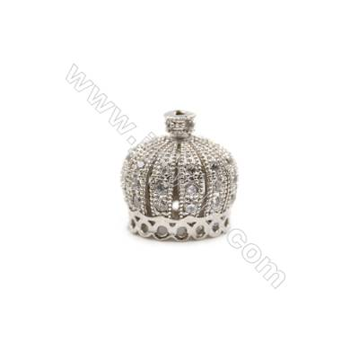 Brass Plated Platinum Grand Hole Charms  CZ Micropave  Crown  Size 13x13mm  15pcs/pack