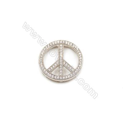 Brass Plated Platinum Grand Hole Charms  CZ Micropave  Round  Size 17mm  Thick 4mm  8pcs/pack
