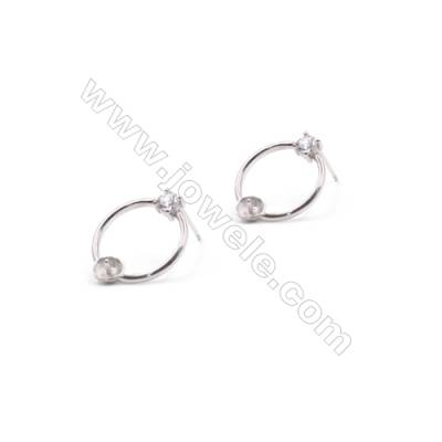 Wholesale circle platinum plated 925 silver zircon ear stud findings for half drilled beads jewelry making 15x18mm x 1pair