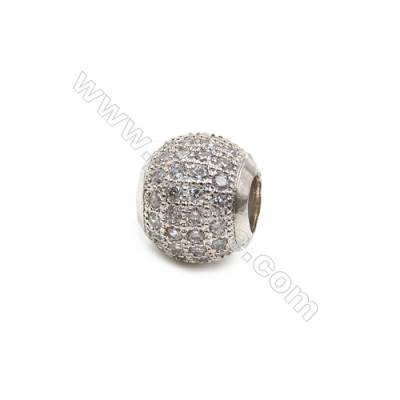 Brass Plated Platinum Grand Hole Charms  CZ Micropave  Round  Size 12mm  Thick 10mm  6pcs/pack