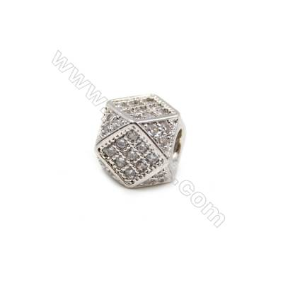 Brass Plated Platinum Grand Hole Charms  CZ Micropave  Polyhedron  Size 7x7mm  15pcs/pack