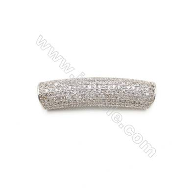 Brass Grand Hole Beads, CZ Micropave, White Gold, Size 9x39mm, Hole 5mm, 4pcs/pack