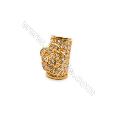 Brass Grand Hole Beads, CZ Micropave, Gold, Size10x14mm, Grand Hole 6mm, 6pcs/pack