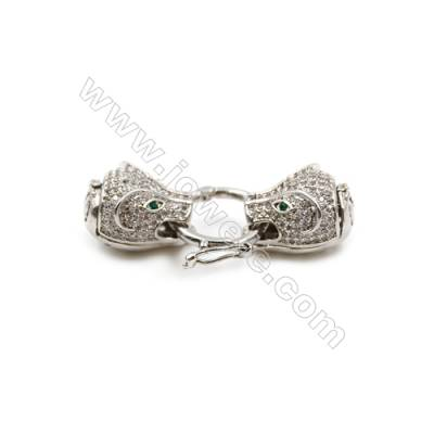 Brass Clasps  CZ Micropave  White Gold  Dog head  Size 14x40mm  2pcs/pack