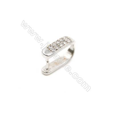 Brass Pinch Bails Fitting  White Gold  CZ Micropave Size 7x10mm  20pcs/pack
