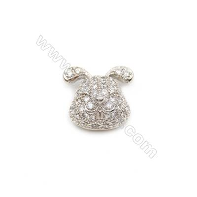 Brass Little Charms  White Gold  CZ Micropave  Rabbit  Size 10x12mm  Hole 1.5mm  8pcs/pack