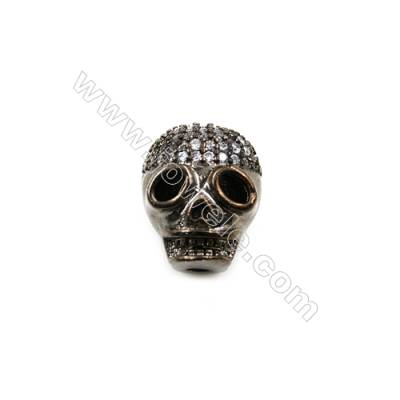 Brass Little Charms  Gun Black  CZ Micropave  Skull  Size 6x10mm  Hole 1.5mm  8pcs/pack