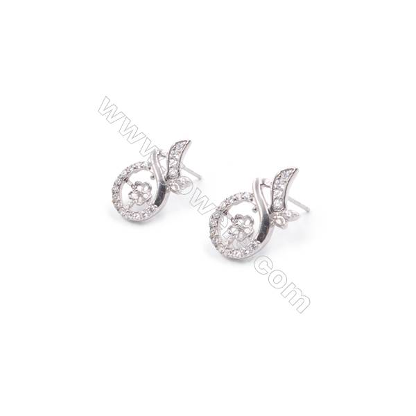 Trendy 925 sterling silver platinum plated zircon micro pave ear stud findings for half drilled beads-T6510-3 11x20mm x 1pair