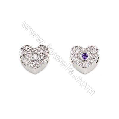 Brass Plated Platinum Grand Hole Charms  CZ Micropave  Heart  Size 10x12mm 10pcs/pack