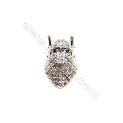 Brass Plated Platinum Grand Hole Charms  CZ Micropave  King  Size 10x16mm  Thick 9mm  20pcs/pack