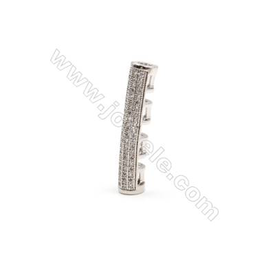 Brass Plated Platinum Charms  CZ Micropave  Tube  Size 6x30mm 8pcs/pack