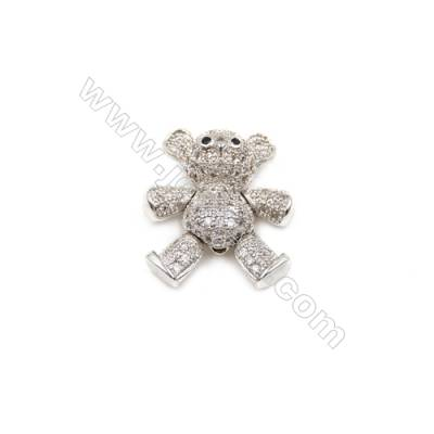 Brass Plated Platinum Charms  CZ Micropave  Bear  Size 16x17mm 5pcs/pack