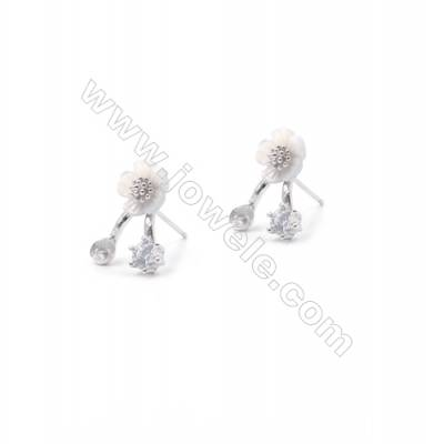 Platinum plated 925 sterling silver jewelry flower ear stud findings for half drilled beads-E2879 11x14mm x 1pair