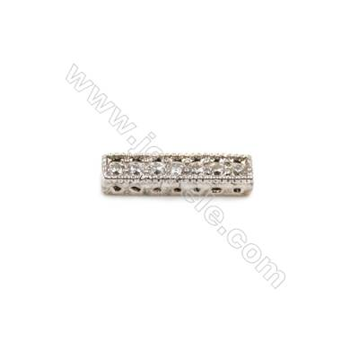 Brass Plated Platinum Charms  CZ Micropave  Rectangle  Size 2x11mm 15pcs/pack