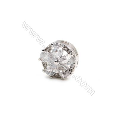 Brass Plated Platinum Charms  CZ Micropave  Flower  Size 5x10mm 15pcs/pack