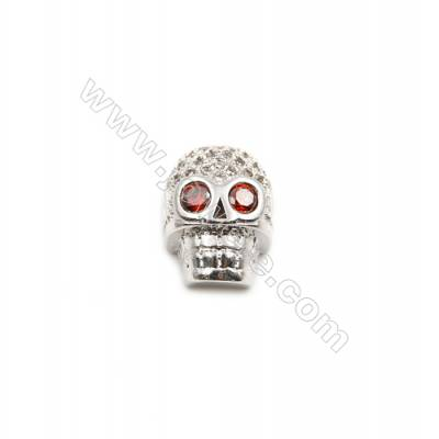 Brass Grand Hole Charms  White Gold  CZ Micropave  Skull  Size 9x13mm  Thick 7mm  10pcs/pack