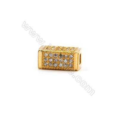 Brass Plated Gold Charms  CZ Micropave  Retangle  Size 6x12mm  Thick 6mm  10pcs/pack