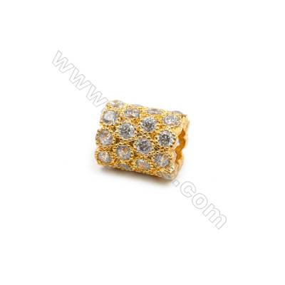 Brass Plated Gold Charms  CZ Micropave  Column  Size 8x10mm 12pcs/pack