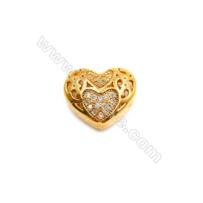 Brass Plated Gold Charms  CZ Micropave  Heart  Size 13x15mm  Thick 7mm  10pcs/pack