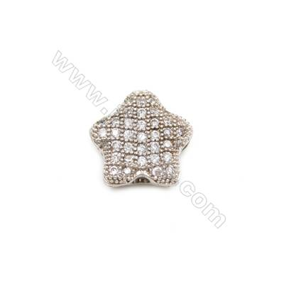 Brass Charms  White Gold  CZ Micropave  Star  Size 11x11mm Hole 1mm  10pcs/pack