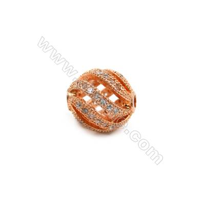Brass Plated Rose Gold Charms  CZ Micropave  Irregular Round  Size 10x10mm  8pcs/pack