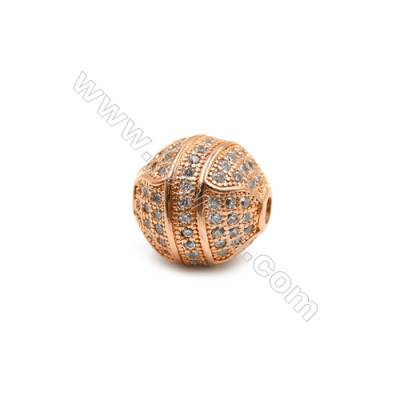 Brass Plated Rose Gold Charms  CZ Micropave  Round  Size 12mm  Thick 10mm  5pcs/pack