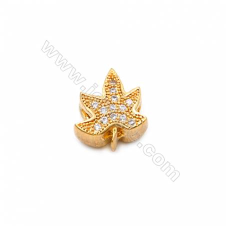 Brass Charms  Rose Gold Gold  CZ Micropave  Leaves  Size 11x9mm Hole 1.5mm  10pcs/pack