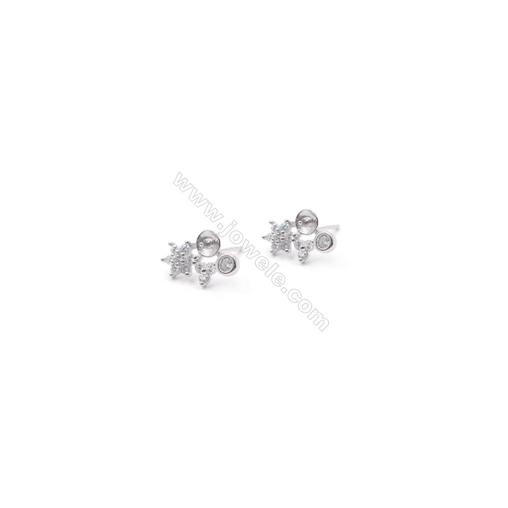 Zircon micro pave flower platinum plated 925 silver ear stud findings for half drilled beads  9x14mm x 1pair