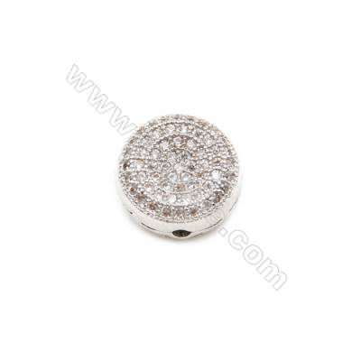 Brass Charms  White Gold  CZ Micropave  Round  Diameter 11mm Hole 1.5mm  10pcs/pack