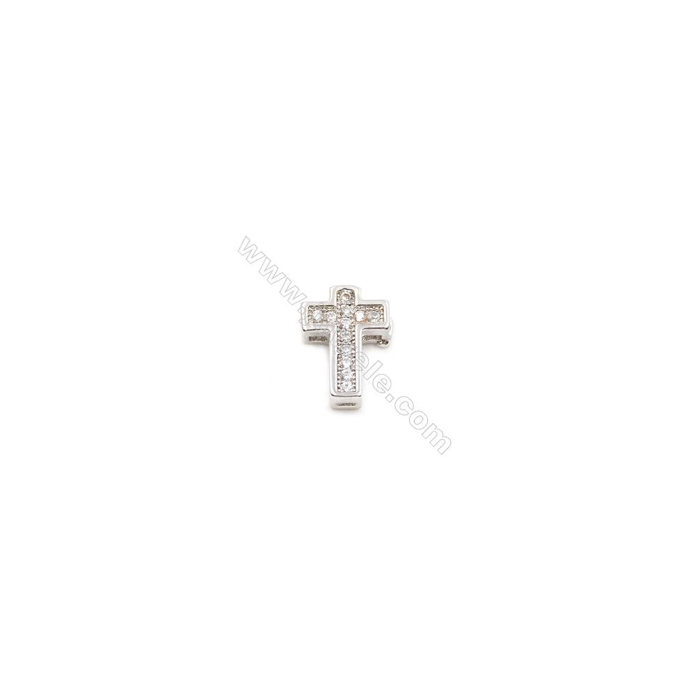 Brass Charms  White Gold  CZ Micropave  Cross  Size 10x8mm Hole 0.8mm  10pcs/pack