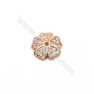 Brass Plated Rose Gold Charms  CZ Micropave  Flower  Size 11x11mm Hole 1mm  12pcs/pack