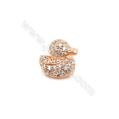 Brass Charms  Rose Gold  CZ Micropave  Duck  Size 10x9mm Hole 1.5mm  10pcs/pack