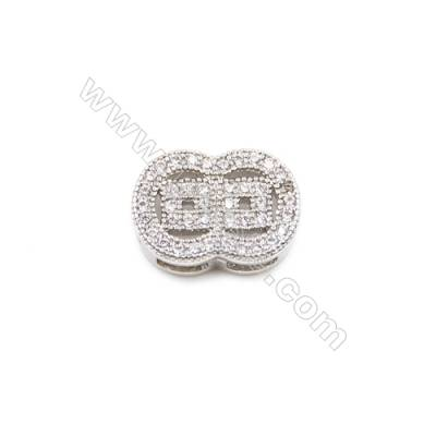 Brass Charms  White Gold  CZ Micropave  Size 12x9mm Hole 1mm  10pcs/pack