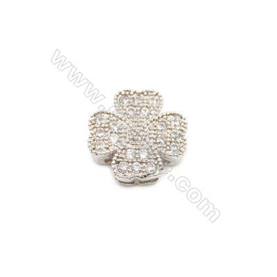 Brass Plated Platinum Charms  CZ Micropave  Flower  Size 11x11mm Hole 1mm  10pcs/pack