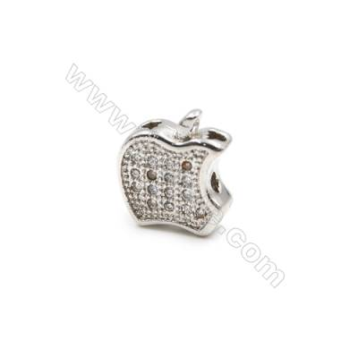Brass Charms  White Gold  CZ Micropave  Apple  Size 11x10mm Hole 1mm  10pcs/pack