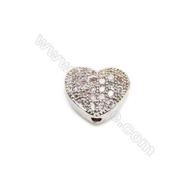 Brass Charms  White Gold  CZ Micropave  Heart  Size 7x9mm Hole 1mm  10pcs/pack