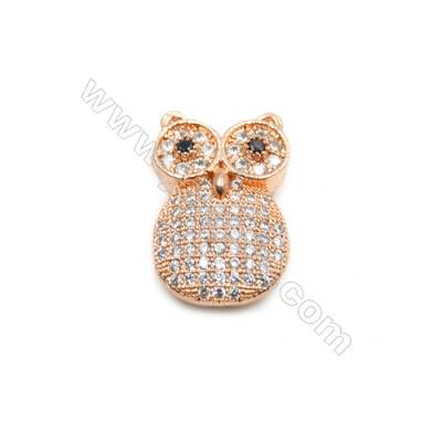 Brass Charms  Rose Gold  CZ Micropave  Owl  Size 13x20mm Hole 1mm  8pcs/pack