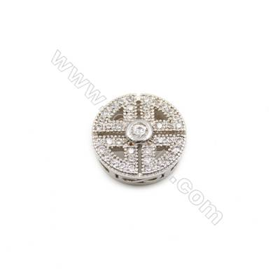 Brass Plated Platinum Charms  CZ Micropave  Round  Size 11mm Hole 0.8mm  10pcs/pack