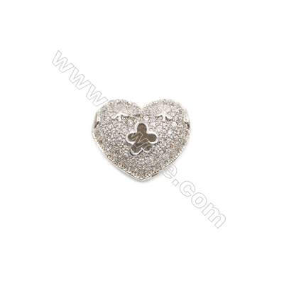 Brass Charms  White Gold  CZ Micropave  Heart  Size 14x11mm Hole 1.5mm  8pcs/pack