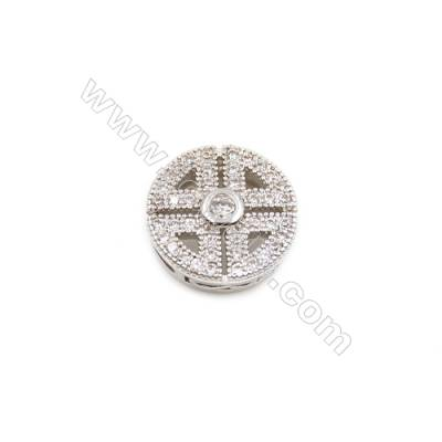 Brass Plated Platinum Charms  CZ Micropave  Round  Size 11mm Hole 1mm  10pcs/pack