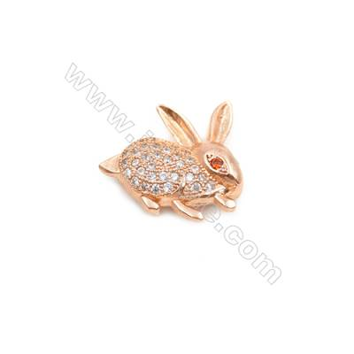 Brass Plated Rose Gold Charms  CZ Micropave  Rabbit  Size 16x17mm Hole 1mm  8pcs/pack