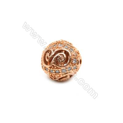 Brass Plated Rose Gold Beads, CZ Micropave, Round, Size 11mm, Hole 0.8mm, 10pcs/pack