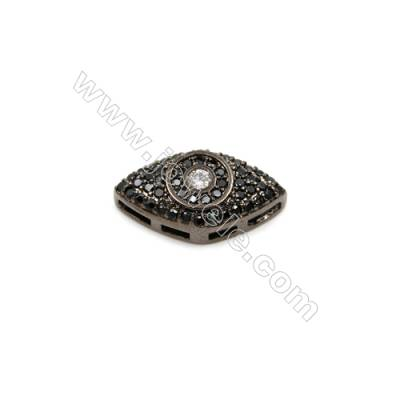 Brass Plated Gun Black Charms  CZ Micropave  Eye  Size 9x17mm  Thick 5mm  6pcs/pack