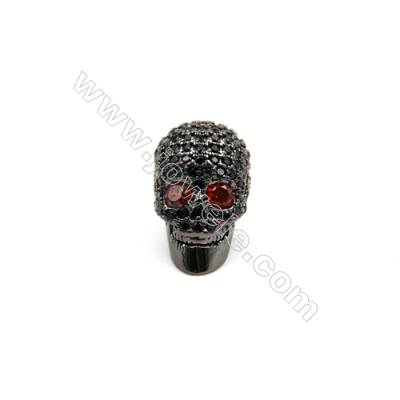 Brass Plated Gun Black Charms  CZ Micropave  Skull  Size 8x15mm  Thick 11mm  8pcs/pack
