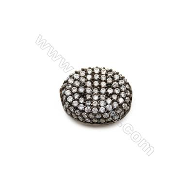 Brass Plated Gun Black Charms  CZ Micropave  Oval  Size 14x17mm  Thick 7mm  6pcs/pack