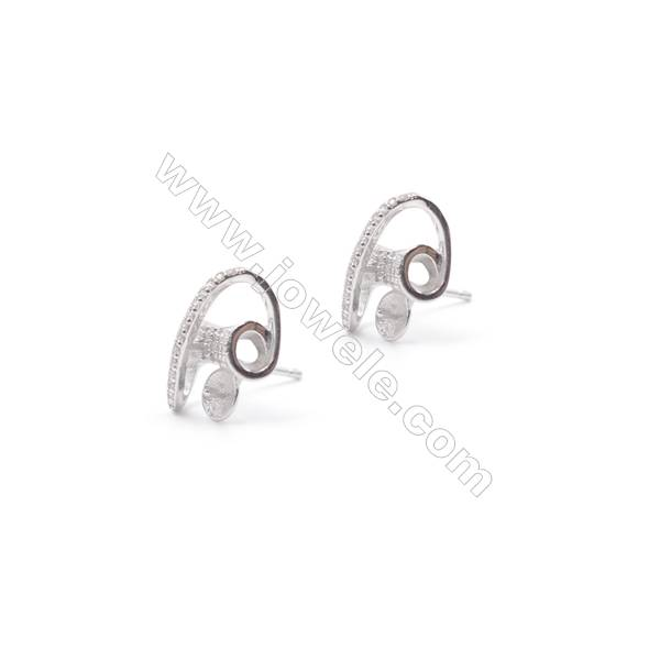 Platinum plated 925 silver ear stud findings  with zircon micro pave  use for half drilled beads  11x14mm x 1pair