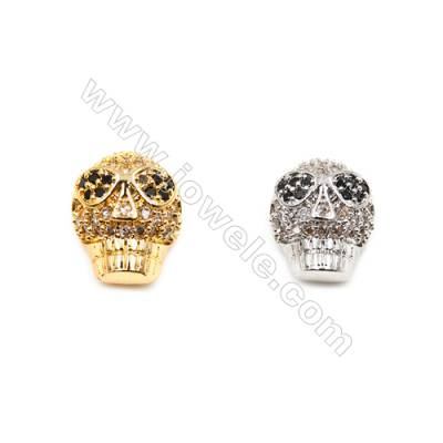 Brass inlay zircon charms (Gold Platinum)Plated  Skull  Size 10x13mm  Thick 9mm  15pcs/pack